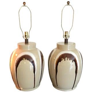 1970s Drip Ceramic Ginger Jar Lamps - A Pair