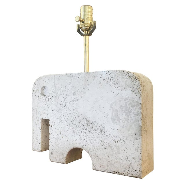 Mid-Century Modern Travertine Elephant Table Lamp For Sale - Image 3 of 5