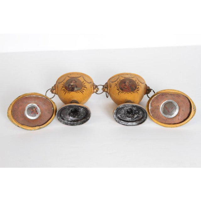 A Pair of English Regency Tole Painted Chestnut Urns For Sale - Image 12 of 13