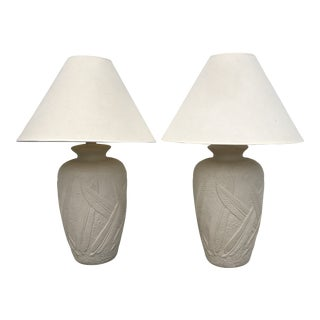 Cream Plaster Banana Leaf Lamps - a Pair For Sale