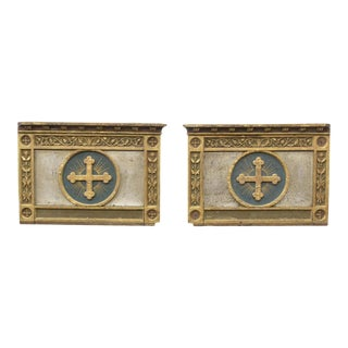 Early 19th Century Italian Baroque Church Architectural Ornament Consecrated Altarpiece Panel - a Pair For Sale