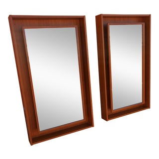 1960s Pedersen & Hansen Danish Modern Teak Mirrors - a Pair For Sale