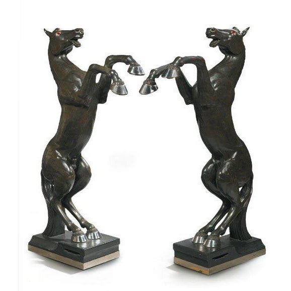 Maison Jansen Pair of Monumental, Electrified Horse Figures For Sale - Image 10 of 10