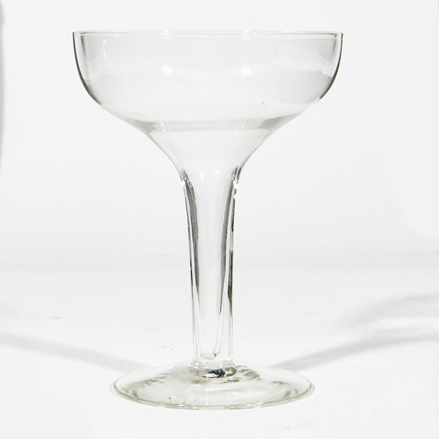 1950s Hollow Glass Stem Coupes, Set of 8 For Sale - Image 4 of 5