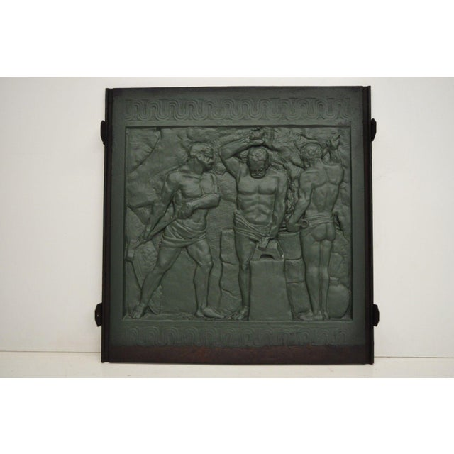 19th Century Art Deco Cast Iron Fireback Figural Foundry Worker Depiction For Sale - Image 12 of 13