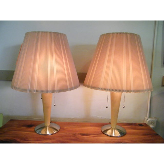 Mid-Century Modern Wood Lamps - A Pair - Image 2 of 6