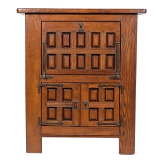 Mediterranean, Spanish Mission Style Oak Bar Cabinet For Sale