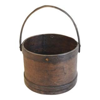 Antique Primitive Wood Firkin Bucket W/ Handle For Sale