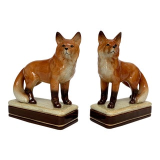 Staffordshire Style Fox Bookends – a Pair For Sale
