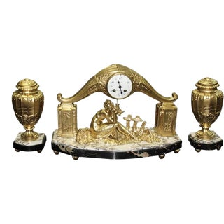 1940s Limousin French Art Deco Gilt Clock Garniture - Set of 3 For Sale