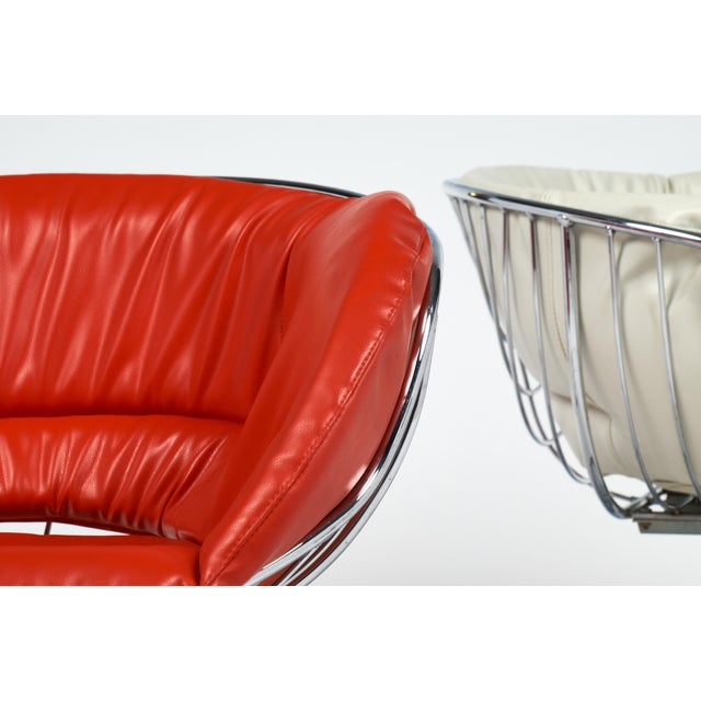 Red Warren Platner Style Chrome Chairs - A Pair For Sale - Image 8 of 11