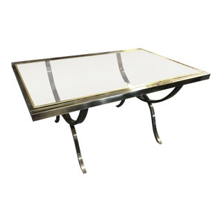 1970s Mid-Century Modern Milo Baughman Chrome Brass and Glass Extendable Dining Table For Sale