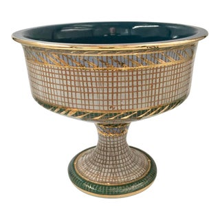 Mid-Century Bitossi Style Sgraffito Footed Bowl For Sale
