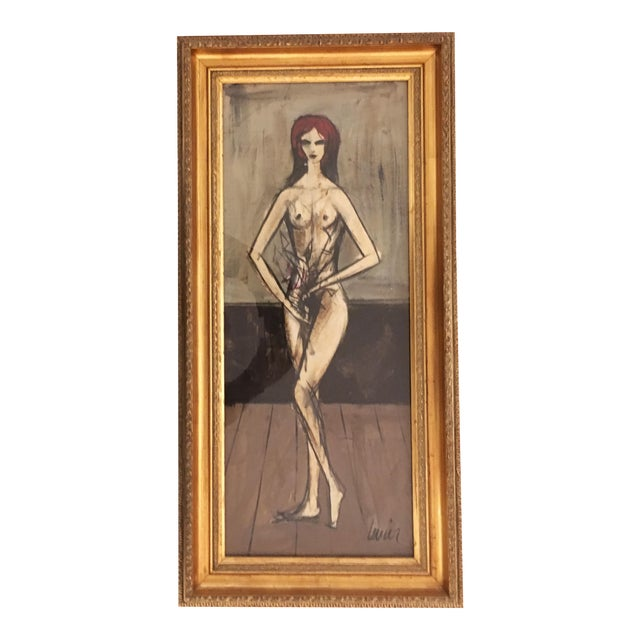 """Charles Levier """"Figure with Flowers"""" Painting For Sale"""