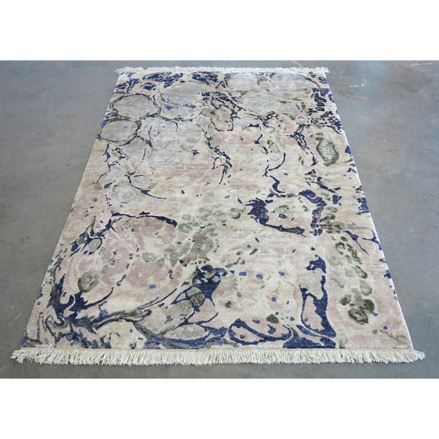 "Abstract Contemporary ""Ginger Root Pale"" Hand-Knotted Silk Rug For Sale - Image 3 of 3"