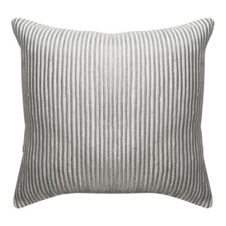 Contemporary Silver Wool Pillow For Sale