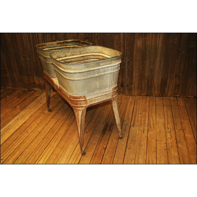 Gray Vintage Wheeling Galvanized Double Wash Tub Stand For Sale - Image 8 of 11