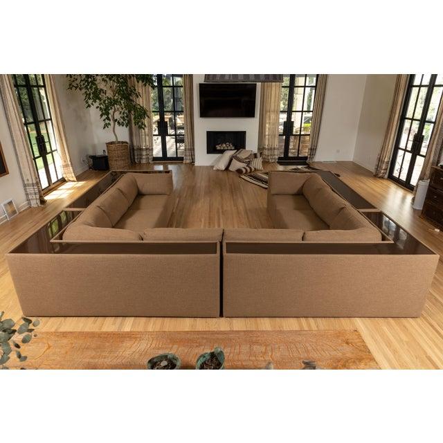 Four-Piece Milo Baughman Sectional Sofa with Original Polymer Shelf Back For Sale - Image 9 of 12