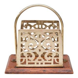 Antique English Oak & Brass Letter Rack Holder For Sale