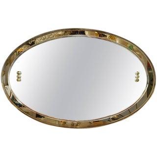 Mid Century Italian Oval Beveled Smoky Mirror For Sale