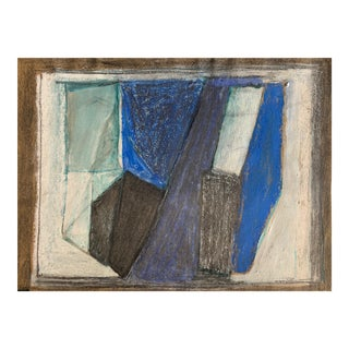 """""""Blue Abstract"""" 1970s Pastel Charcoal Nyc Artist For Sale"""