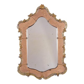 19th Century Italian Venetian Etched Wall Mirror For Sale