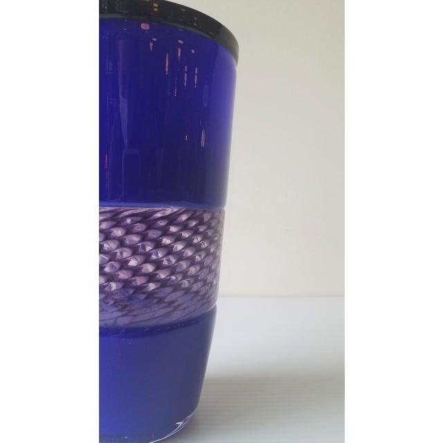 Blue Steve Gibbs Blown Glass Vase for Corning Museum of Glass For Sale - Image 8 of 13