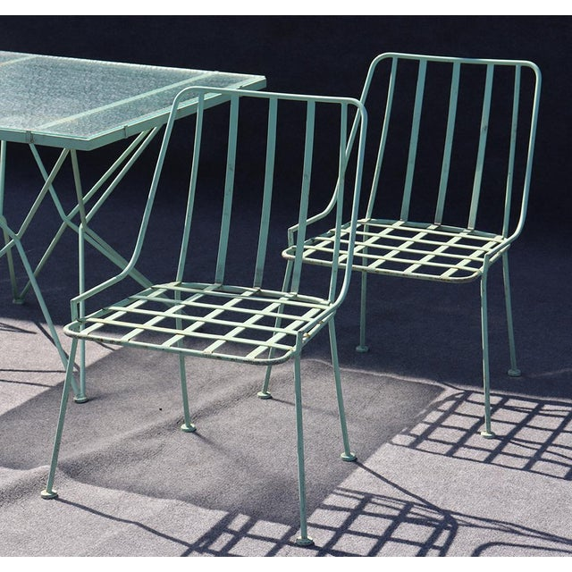 Mid-Century Modern Woodard 5pc Atomic Style Wrought Iron Patio Set For Sale - Image 3 of 10