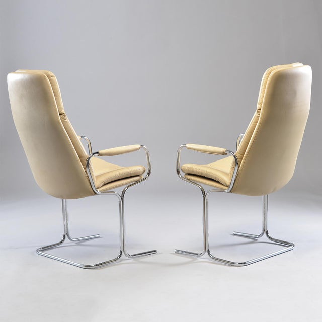 1970s Tim Bates for Eleganza Collection at Pieff Chrome and Leather Armchairs - a Pair For Sale - Image 5 of 13