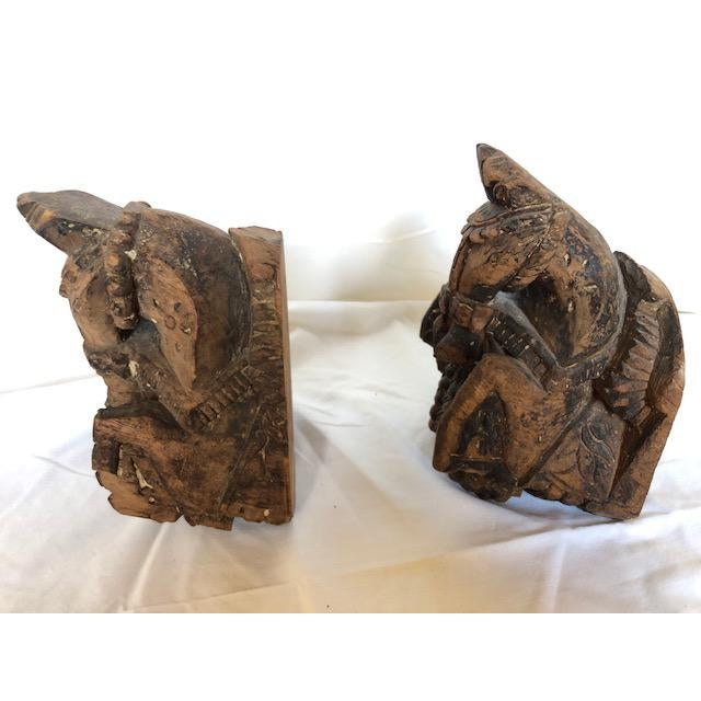 Antique Carved Wood Horse Corbels - a Pair For Sale - Image 4 of 5