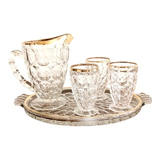 1920s Pressed Glass Cocktail Set For Sale