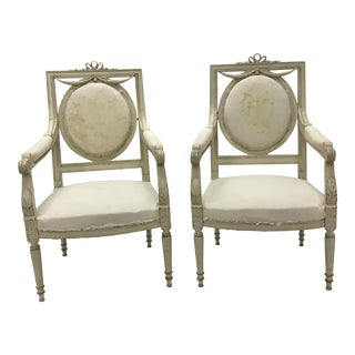 Mid 19th Century Vintage Swedish Gustavian Armchairs- A Pair For Sale