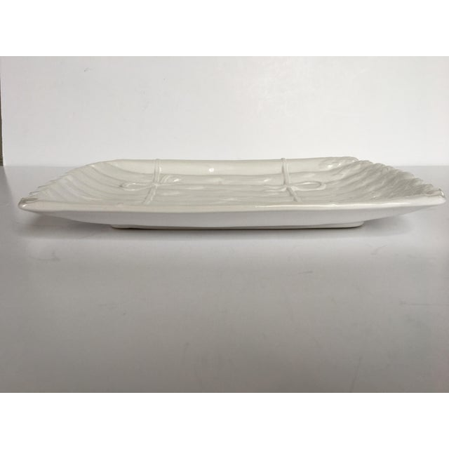Large - White on White Glazed Asparagus Platter Made in Portugal For Sale - Image 4 of 11