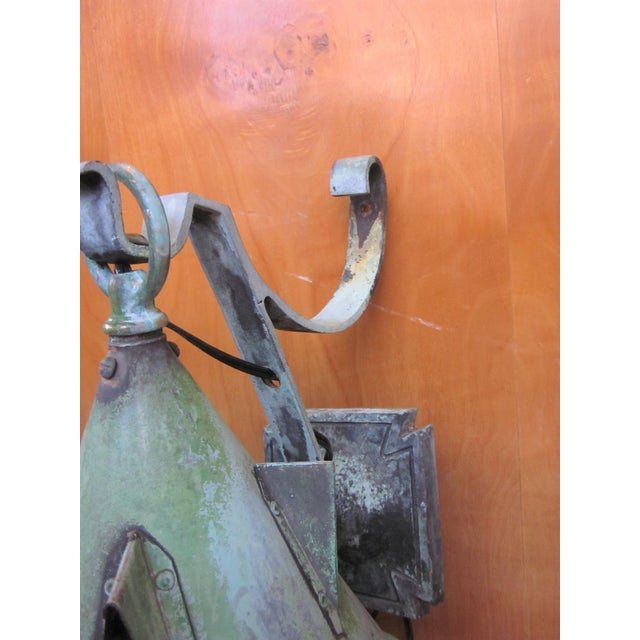 1910s Arts and Crafts Era Mission Style Verdigris Patina Laterns-a Pair For Sale - Image 9 of 13