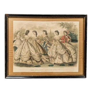Antique Womens Fashion Print With Painted Watercolor Dated 1865