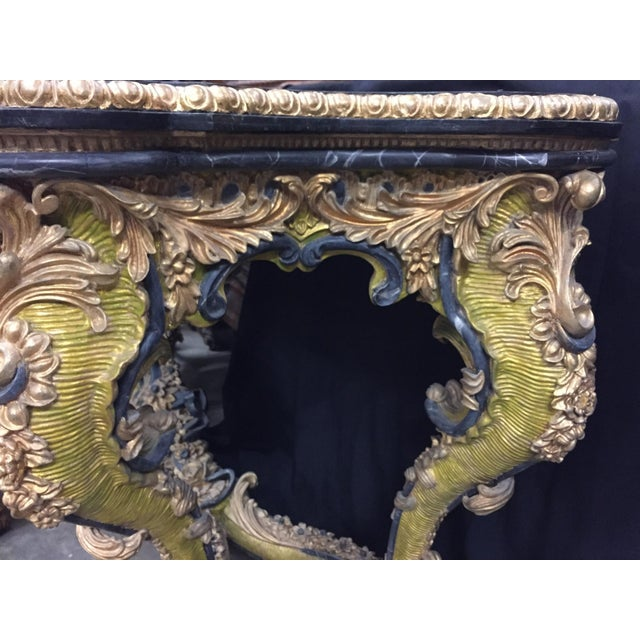 Late 20th Century Italian Rococo Style Gilt Console Table For Sale - Image 5 of 13
