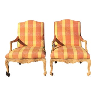 Antique Recency Style Upholstered Arm Chairs - A Pair