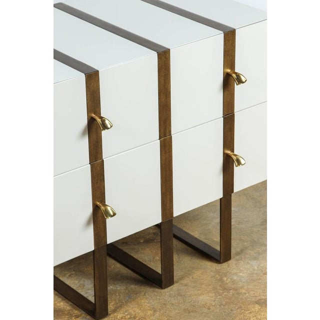 Paul Marra Two-Drawer Banded Chest in Lacquered Finish and Inset Iron Band - Image 6 of 8