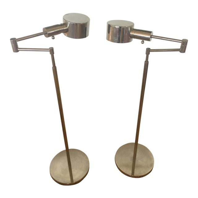 Phoenix Day Telescoping Swing Arm Floor Lamps - A Pair For Sale