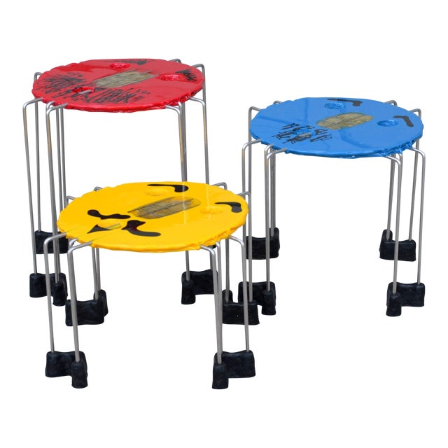 Set of Whimsical Colored Side Tables by Gaetano Pesce For Sale