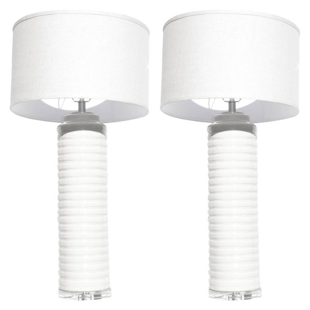 Cream White Glazed Ceramic Table Lamps - A Pair - Image 1 of 5