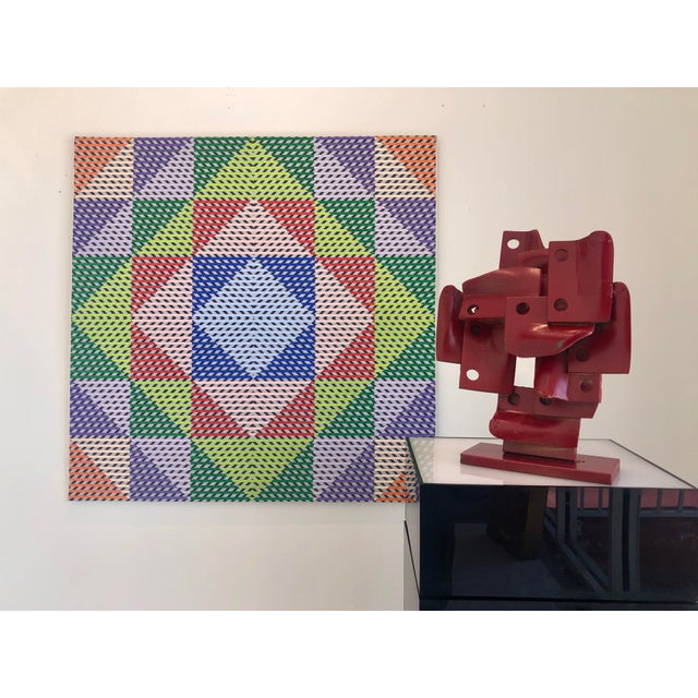 1980s Gabe Silverman Abstract Op Art Painting on Canvas For Sale - Image 9 of 10