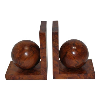 Art Deco 1930s Bookends Book Ends in Polished Burl-Wood - the Pair For Sale