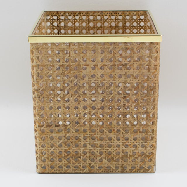 Contemporary Christian Dior Home Collection 1970s Lucite and Rattan Waste Basket For Sale - Image 3 of 11