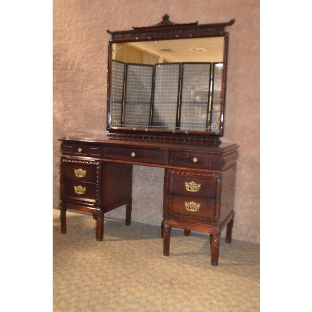 Metal 1950s Vintage Asian Inspired Mahogany Vanity Desk & Bench - 2 Pieces For Sale - Image 7 of 13
