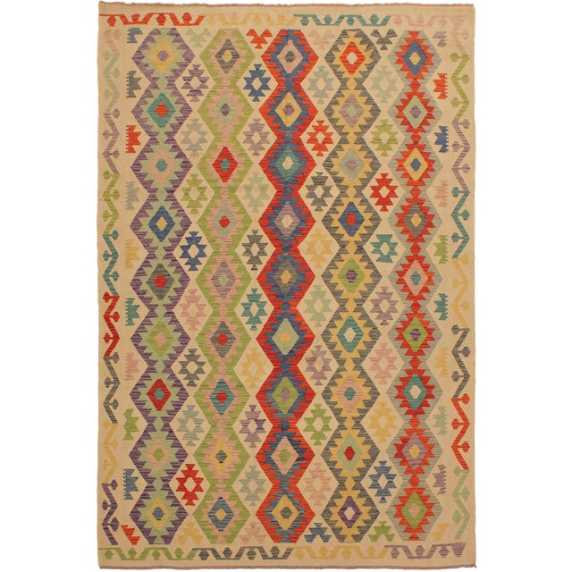 Shabby Chic Sylvie Ivory/Rust Hand-Woven Kilim Wool Rug -6'7 X 9'8 For Sale