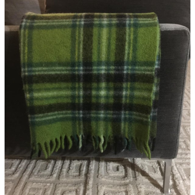 1950s Mid-Century Modern Wool Plaid Throw For Sale - Image 5 of 5