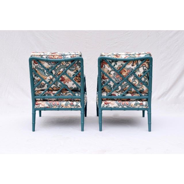 Teal Faux Bamboo Chinese Chippendale Lounge Chairs For Sale - Image 8 of 13