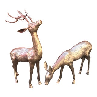 Large Mid Century Brass Deer Floor Statues - a Pair For Sale