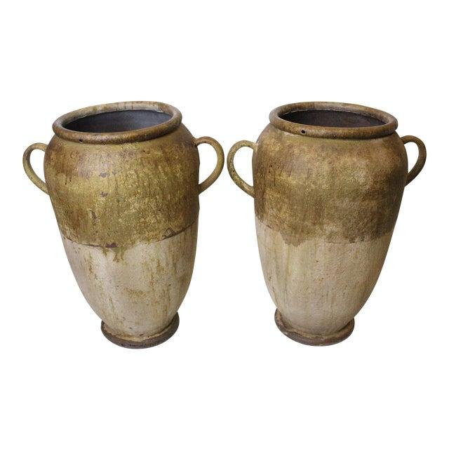 Rustic Aluminum Urns - a Pair For Sale